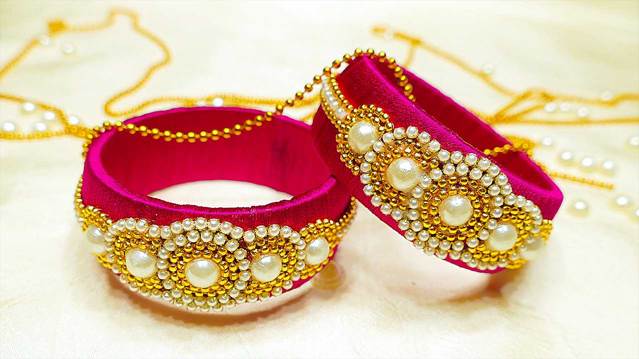 Pink Silk Thread Bangles Using Pearls