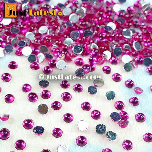 Color Kundan Stone Round 4mm Pink