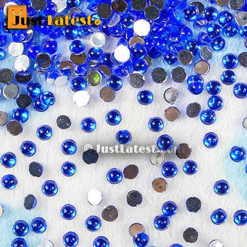 Kundan Stone Round 4mm Dark Blue