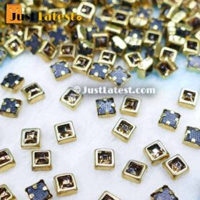 Kundan Stones Square Shape 4MM (Gold Stone)