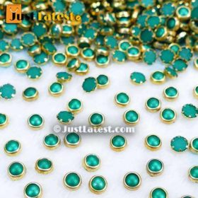 Coloured Flat Back Framed Kundan Stone 5 mm ROUND- Green