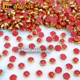 Coloured Flat Back Framed Kundan Stone 5 mm ROUND- Red
