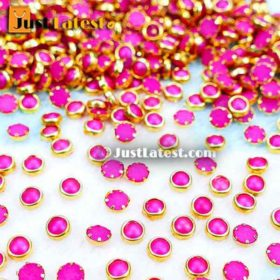 Coloured Flat Back Framed Kundan Stone 5 mm ROUND- Pink